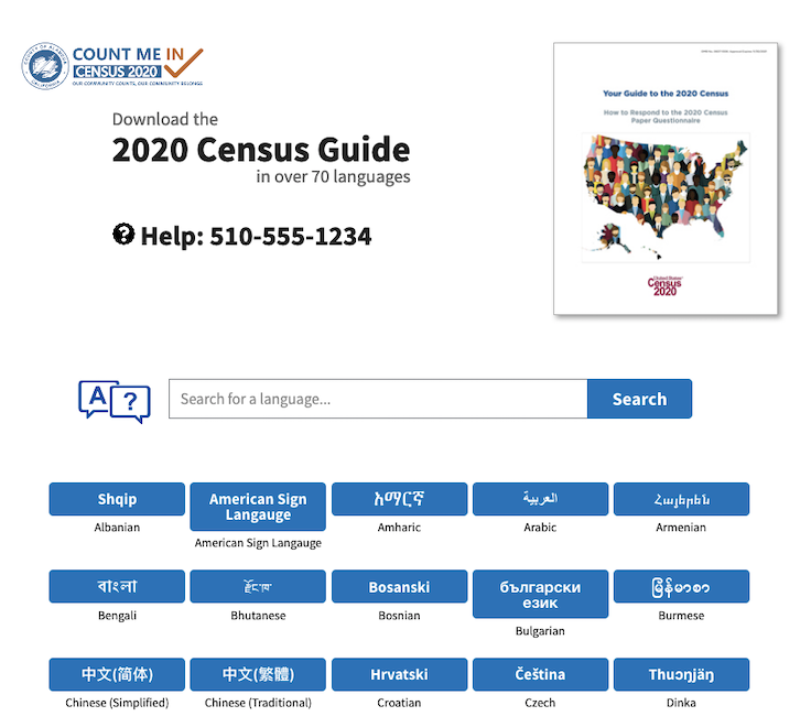 screenshot of Alameda County Census 2020 Landing Page