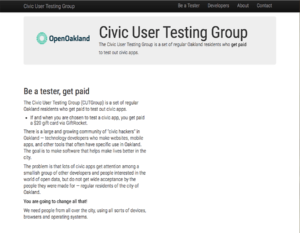 screenshot of Civic User Testing Group (CUT Group)